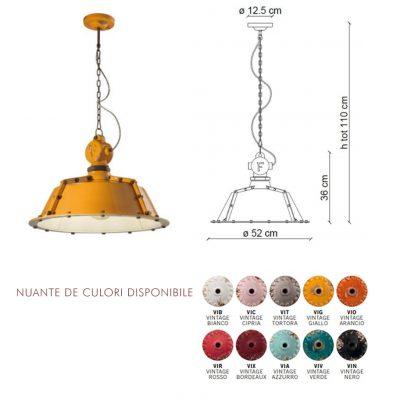 Lampa suspendata Industrial 1720FL dimensiune si culori disponibile, mobilier bistro, mobilier horeca, mobilier bar