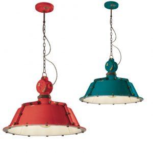 Lampa suspendata Industrial 1720FL rosu si verde, iluminat industrial, corp iluminat bistro, iluminat pub, iluminat bar