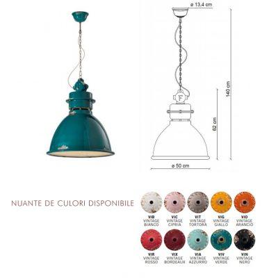 Lampă suspendată Industrial 1750FL dimensiuni si culori disponibile