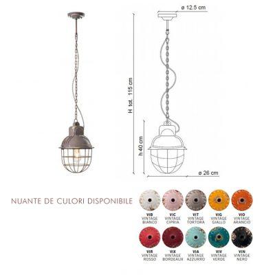 Lampa suspendata Industrial 1770FL dimensiune si culori disponibile