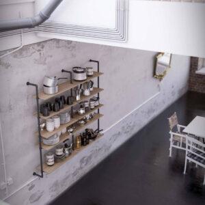 Structura modulara depozitare PIPE. Rafturi depozitare stil industrial. Mobilier cafenea,bar,pub,restaurant,ceainarie.