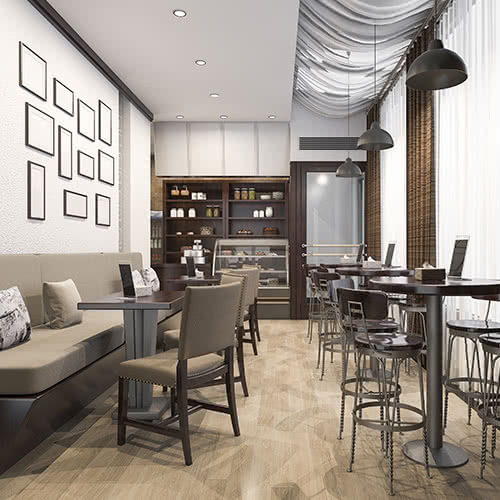 6 Idei de interioare pentru cafenea stil modern. Design interior cafenea.