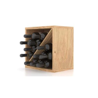 Cutie expozor sticle vin realizata din lemn cu 2 compartimente.
