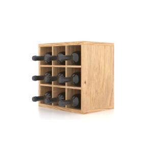 Cutie expozor sticle vin din lemn cu 9 compartimente. Suport sticle de vin.Raft expozor sticle.
