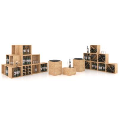 Cutie expozor sticle vin realizate din derivate de lemn. Suport sticle de vin.