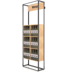 Raft expozor sticle C6. Suport sticle de vin. Mobilier horeca. Mobilier prezentare.