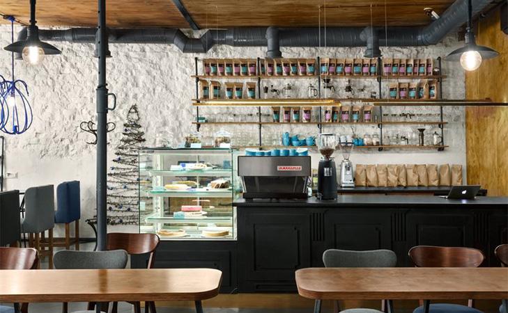 Design cafenea - Blue Cup. Design interior bar.