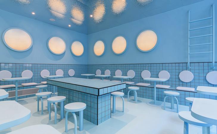 Bun Burgers concept interior restaurant.