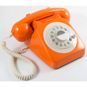 Replica decorativa telefon R746 culoare portocaliu. obiecte decorative interior.