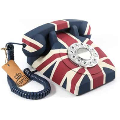 Replică decorativă telefon Union Jack UK. Obiecte decorative in stil retro.