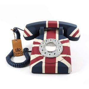 Replică decorativă telefon Union Jack. Decoratiuni interioare. obiecte decorative interior. Telefon decorativ functional in stil retro.