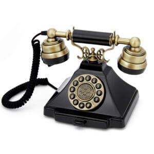 Replică decorativă telefon retro Duke culoare neagra. Decoratiuni interioare.