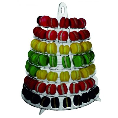 Etajera macarons transparenta. Stativ expuner macarons transparent 108 bucati